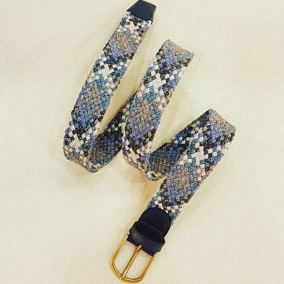 Cinturón tejido trenzado azul y gris