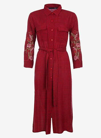 Maxi vestido cuadros con bordados Tiffosi Rojo y Negro