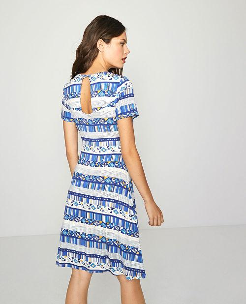 Vestido Surkana Mata azul y blanco