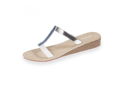 Sandalias Isotoner 94107 blanco y azul