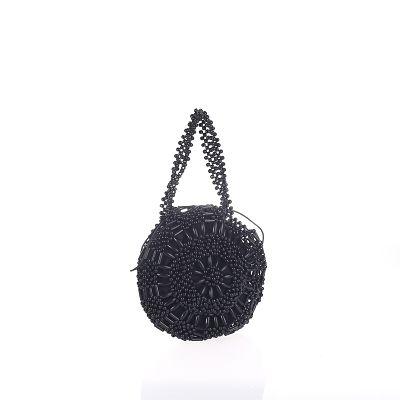 Bolso circular bolitas negro