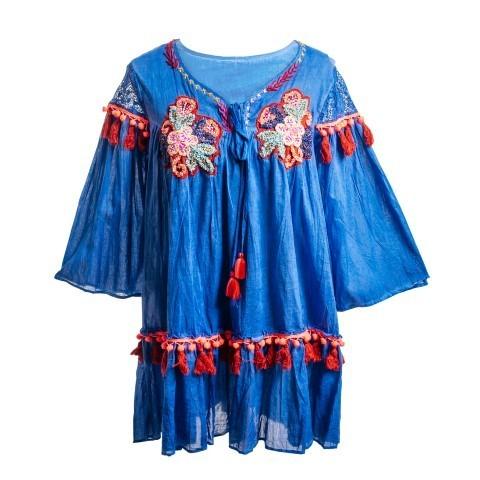 Vestido playero azulón bordados