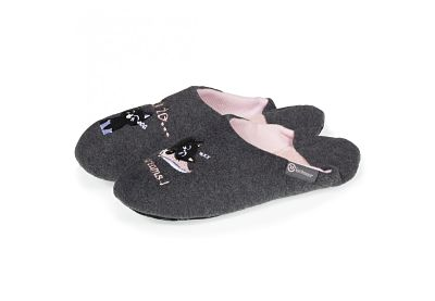 Chinelas mujer Isotoner 67238 gris y rosa
